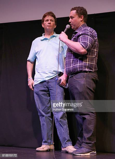 Actor Scott Shepard and director Matt Ornstein speak onstage at the premiere of Accidental Courtesy Daryl Davis Race America during the 2016 SXSW...