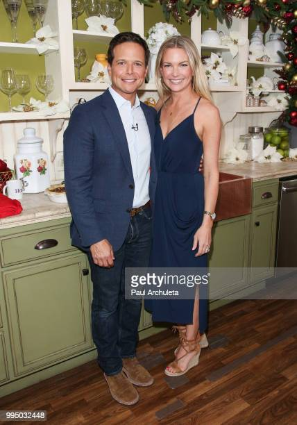 Actor Scott Wolf and his Wife Actress Kelley Limp visit Hallmark's Home Family at Universal Studios Hollywood on July 9 2018 in Universal City...