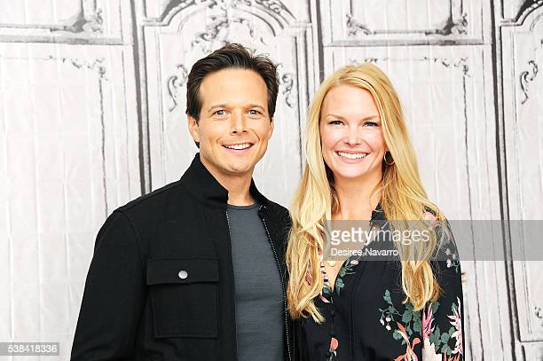Actor Scott Wolf and wife Kelley Limp attends the discussion of season three of NBCs hit summer medical drama 'The Night Shift' during AOL Build...