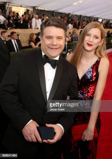 Actor Sean Astin and producer Christine Harrell attend the 24th Annual Screen ActorsGuild Awards at The Shrine Auditorium on January 21 2018 in Los...