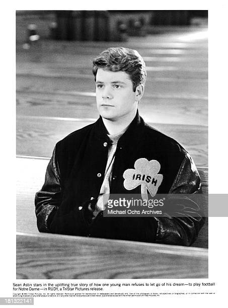 Actor Sean Astin on the set of the Tri Star movie ' Rudy' in 1993