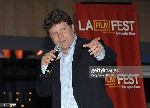 Actor Sean Astin speaks at the Free Outdoor Screening Of Rudy during the 2011 Los Angeles Film Festival held at LA LIVE on June 26 2011 in Los...