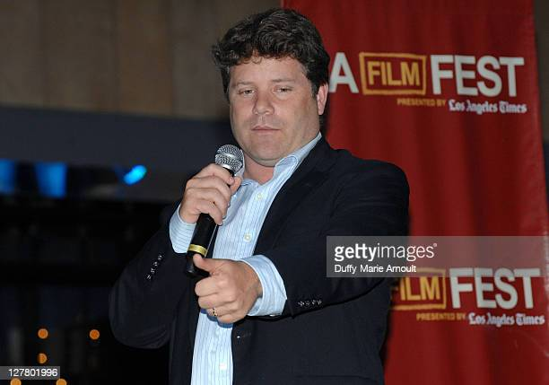 """Actor Sean Astin speaks at the Free Outdoor Screening Of """"Rudy"""" during the 2011 Los Angeles Film Festival held at L.A. LIVE on June 26, 2011 in Los..."""