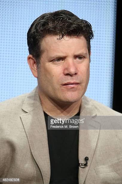 Actor Sean Astin speaks onstage at 'The Strain' panel during the FX Networks portion of the 2014 Summer Television Critics Association at The Beverly...
