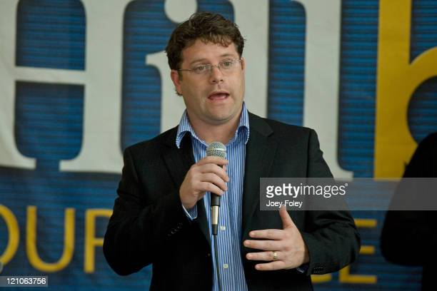 Actor Sean Astin who has joined Hillary Clinton's campaign speaks in the Campus Center at Indiana UniversityPurdue University during a town hall...