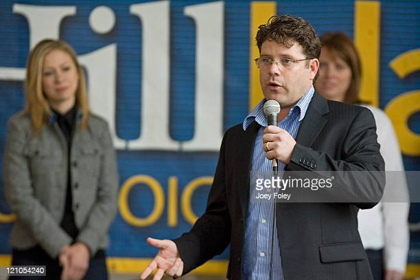 Actor Sean Astin who has joined the Clinton campaign speaks in the Campus Center at Indiana UniversityPurdue University during a town hall meeting...