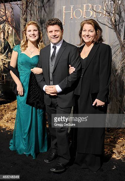 Actor Sean Astin wife Christine Harrell Astin and daughter Alexandra Astin arrive at the Los Angeles premiere of 'The Hobbit The Desolation Of Smaug'...