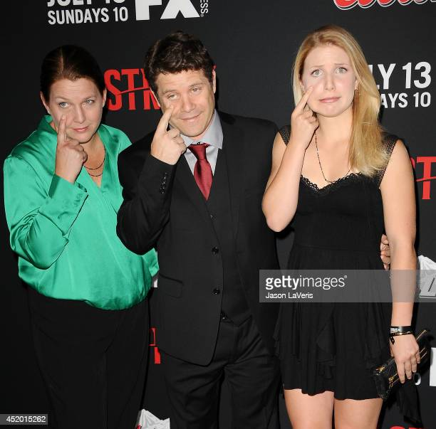 Actor Sean Astin with daugther Ali Astin and Christine Astin attend the premiere of 'The Strain' at DGA Theater on July 10 2014 in Los Angeles...