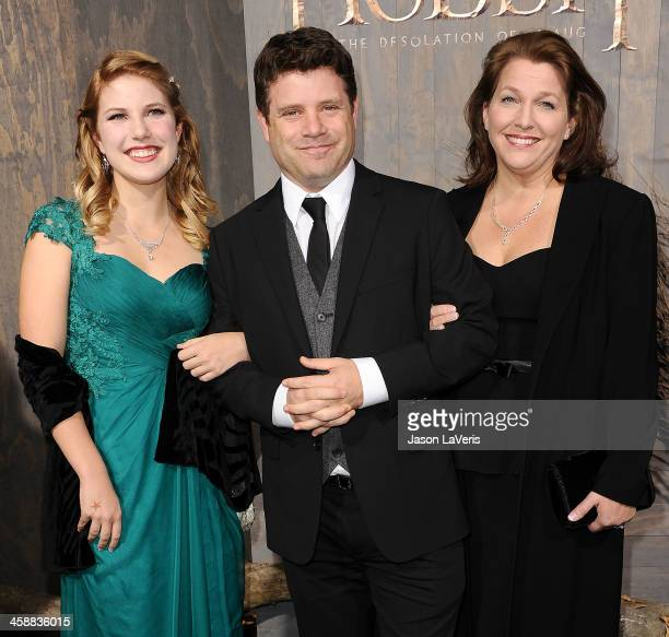 Actor Sean Astin with daugther Ali Astin and Christine Astin attends the premiere of 'The Hobbit The Desolation Of Smaug' at TCL Chinese Theatre on...