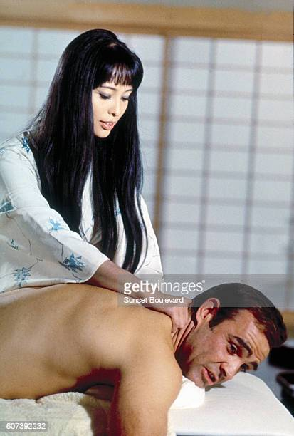 Actor Sean Connery and actress Akiko Wakabayashi on the set of You Live Only Twice