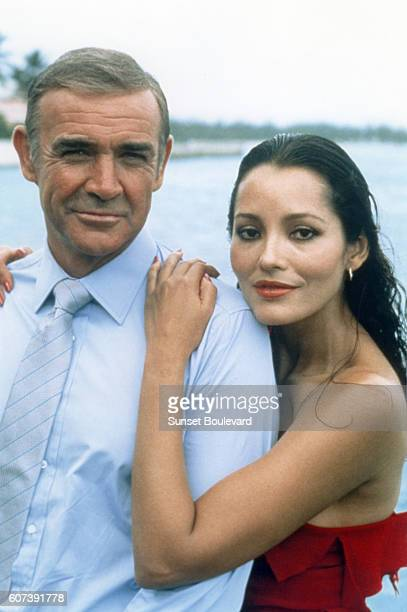 Actor Sean Connery and actress Barbara Carrera on the set of Never Say Never Again