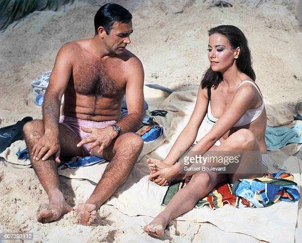 Actor Sean Connery and actress Claudine Auger on the set of Thunderball