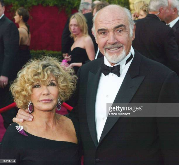 Actor Sean Connery and wife Micheline Connery attend the 76th Annual Academy Awards at the Kodak Theater on February 29 2004 in Hollywood California