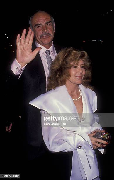 Actor Sean Connery and wife Micheline Connery attend the premiere of Medicine Man on February 5 1991 at the El Capitan Theater in Hollywood California