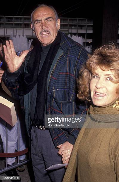 Actor Sean Connery and wife Micheline Connery attend the premiere of Hook on December 8 1991 at Cineplex Odeon Cinema in Century City California