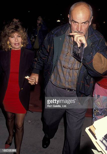 Actor Sean Connery and wife Micheline Connery attend the premiere of Bugsy on December 12 1991 at the Academy Theater in Beverly Hills California