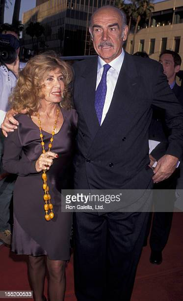 Actor Sean Connery and wife Micheline Connery attend the world premiere of First Knight on June 19 1995 at the Academy Theater in Beverly Hills...