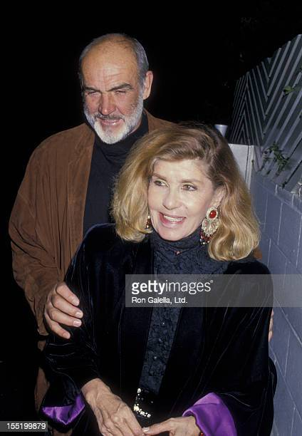 Actor Sean Connery and wife Micheline Connery sighted on March 30 1988 at Spago Restaurant in West Hollywood California