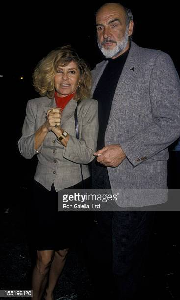 Actor Sean Connery and wife Micheline Connery sighted on March 9 1988 at Spago Restaurant in West Hollywood California