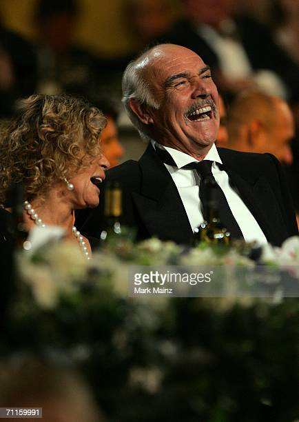 Actor Sean Connery and wife Micheline Roquebrune watch the show during the 34th AFI Life Achievement Award tribute to Sir Sean Connery held at the...