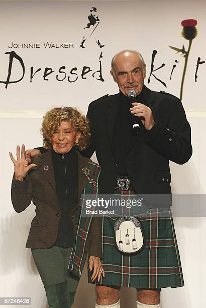 Actor Sean Connery and wife Micheline speak on the runway at the Johnnie Walker Dressed to Kilt fashion show at St John Divine Cathedral on April 3...