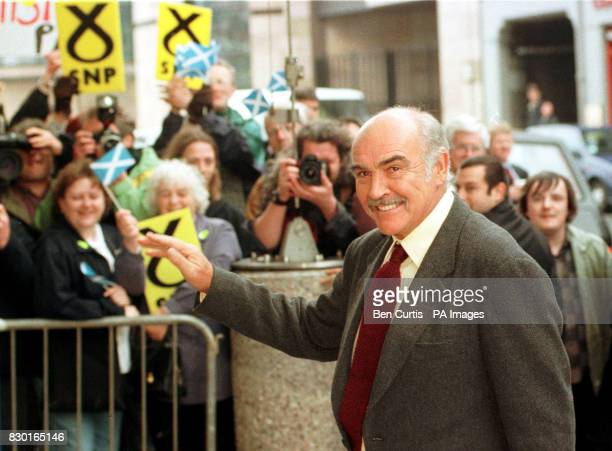 Actor Sean Connery arrives to support a Scottish National Party election rally at the Edinburgh International Conference Centre