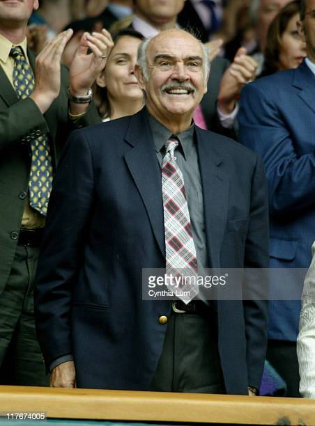 Actor Sean Connery enjoys the action from the Royal Box on Centre Court between Roger Federer and Nicolas Kiefer during the 2005 Wimbeldon...