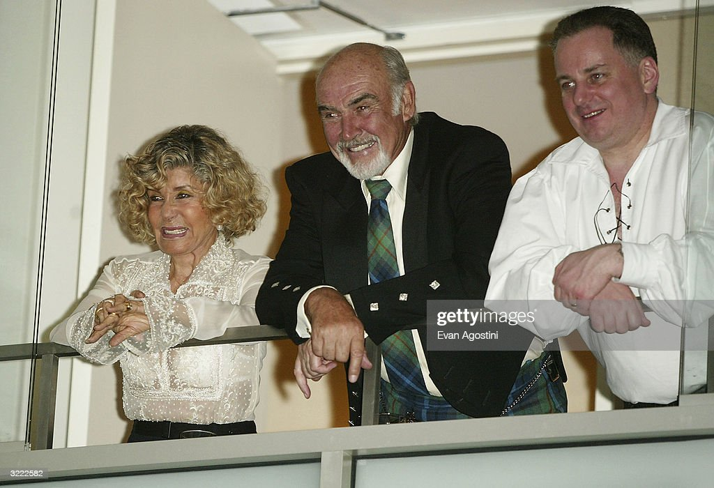 Actor Sean Connery, his wife Micheline, and Scottish First Minister Jack McConnell attend the 'Dressed To Kilt' fashion show celebrating Tartan Week and benefiting The Friends of Scotland, at Sotheby's April 5, 2004, in New York City.