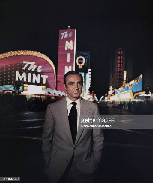 Actor Sean Connery poses as James Bond in a scene from the United Artists film 'Diamonds Are Forever' in 1971 in Las Vegas, Nevada.