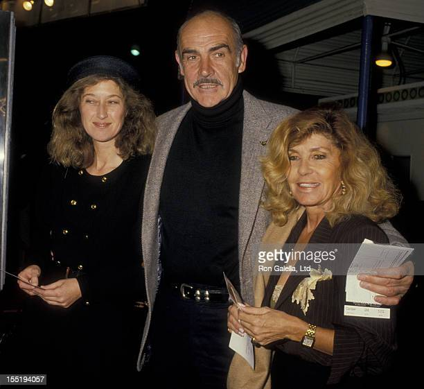 Actor Sean Connery wife Micheline Connery and daughter attend the premiere of Empire Of The Sun on December 8 1987 at Mann Village Theater in...
