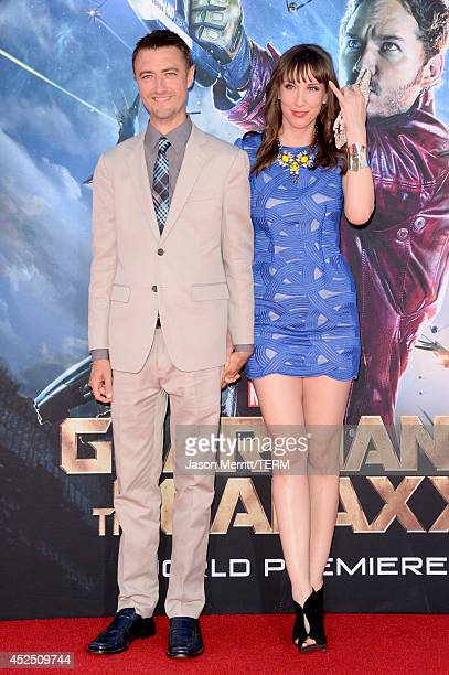 Actor Sean Gunn and Guest attend the premiere of Marvel's Guardians Of The Galaxy at the Dolby Theatre on July 21 2014 in Hollywood California