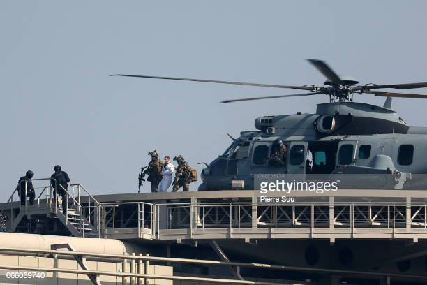 Actor Sean Harris is seen on the set of Mission Impossible 6 on the rooftop of the french ministry of finance on April 8 2017 in Paris France