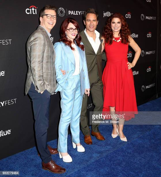 Actor Sean Hayes actress Megan Mullally actor Eric McCormack and actress Debra Messing of the television show 'Will Grace' attend The Paley Center...