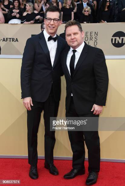 Actor Sean Hayes and music producer attend the 24th Annual Screen Actors Guild Awards at The Shrine Auditorium on January 21 2018 in Los Angeles...