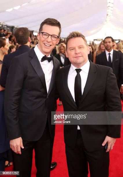 Actor Sean Hayes and music producer Scott Icenogle attend the 24th Annual Screen ActorsGuild Awards at The Shrine Auditorium on January 21 2018 in...