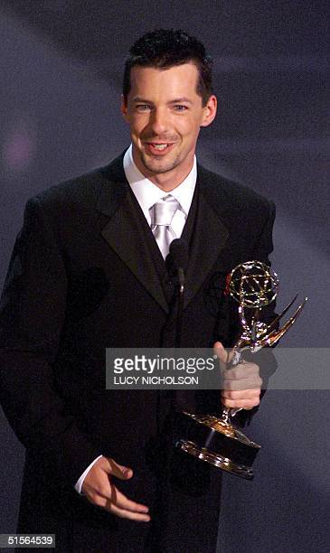 Actor Sean Hayes hold his trophy for Supporting Actor in a Comedy Series category for his role in Will and Grace during the 52nd Annual Primetime...