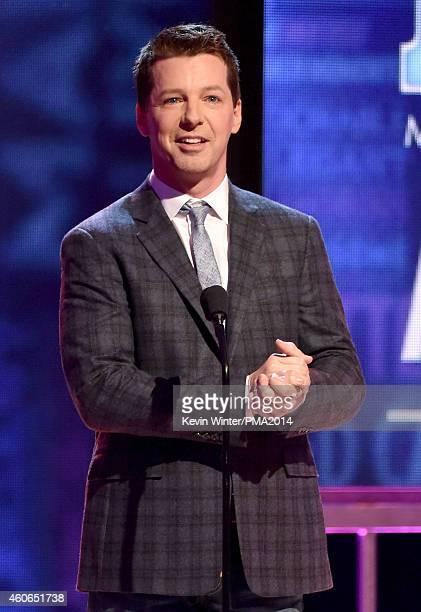 Actor Sean Hayes speaks onstage during the PEOPLE Magazine Awards at The Beverly Hilton Hotel on December 18 2014 in Beverly Hills California