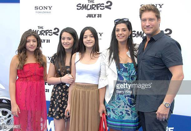 Actor Sean Kanan and wife Michele Vega andther daughters arrive at the Los Angeles Premiere 'Smurfs 2' on July 28 2013 at Regency Village Theatre in...