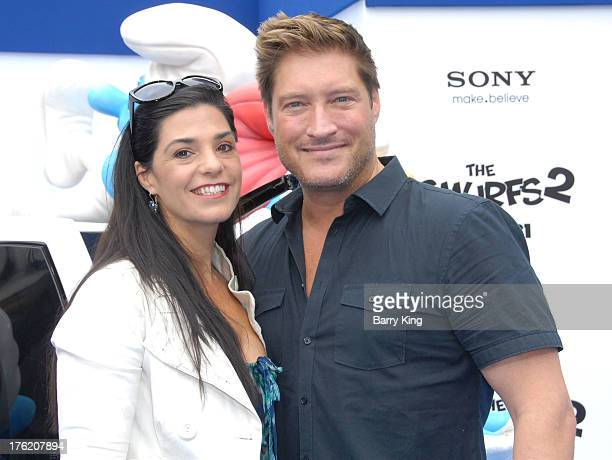 Actor Sean Kanan and wife Michele Vega arrive at the Los Angeles Premiere 'Smurfs 2' on July 28 2013 at Regency Village Theatre in Westwood California
