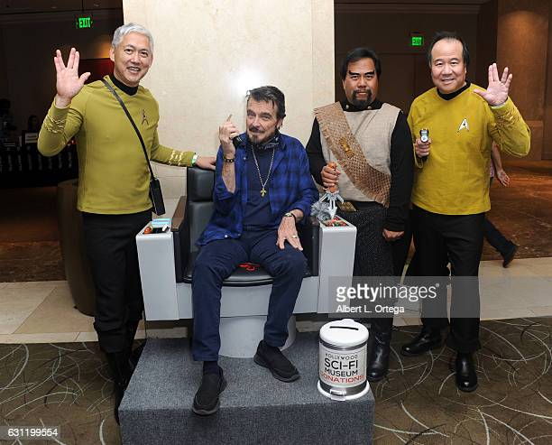 Actor Sean Kenney with Star Trek cosplayers Mark Lum Bill Arucan and David Cheng attend The Hollywood Show held at The Westin Los Angeles Airport on...