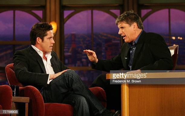 Actor Sean Maguire and host Craig Ferguson speak during a segment of 'The Late Late Show with Craig Ferguson' at CBS Television City on December 6...