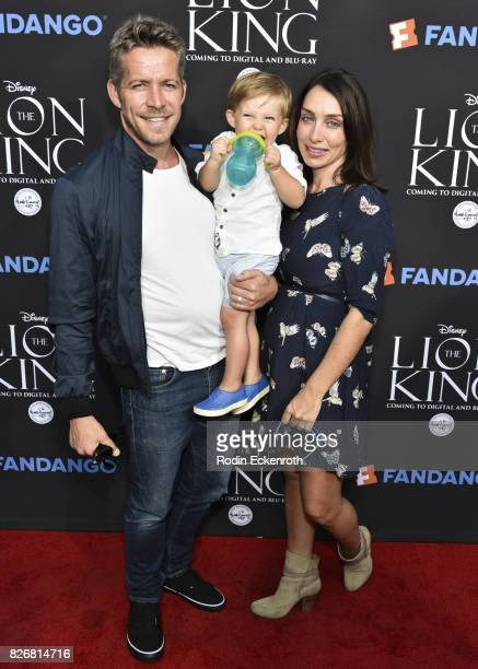 Actor Sean Maguire wife Tanya Flynn and son Flynn Patrick Maguire attend 'The Lion King' singalong screening at The Greek Theatre on August 5 2017 in...