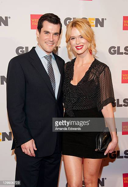 Actor Sean Maher and actress Leah Renee arrive at the GLSEN Respect Awards at the Beverly Hills Hotel on October 21 2011 in Beverly Hills California