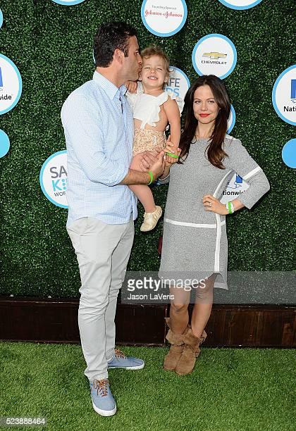 Actor Sean McEwen actress Tammin Sursok and daughter Phoenix Emmanuel SursokMcEwan attend Safe Kids Day at Smashbox Studios on April 24 2016 in...