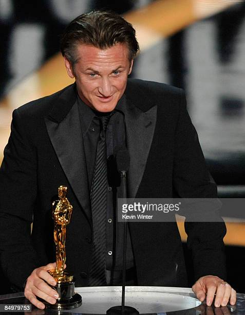Actor Sean Penn accepts his Best Actor award for 'Milk' during the 81st Annual Academy Awards held at Kodak Theatre on February 22 2009 in Los...