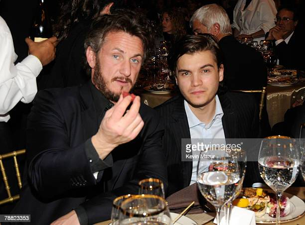 Actor Sean Penn and Actor Emile Hirsch inside at the 13th ANNUAL CRITICS' CHOICE AWARDS at the Santa Monica Civic Auditorium on January 7, 2008 in...