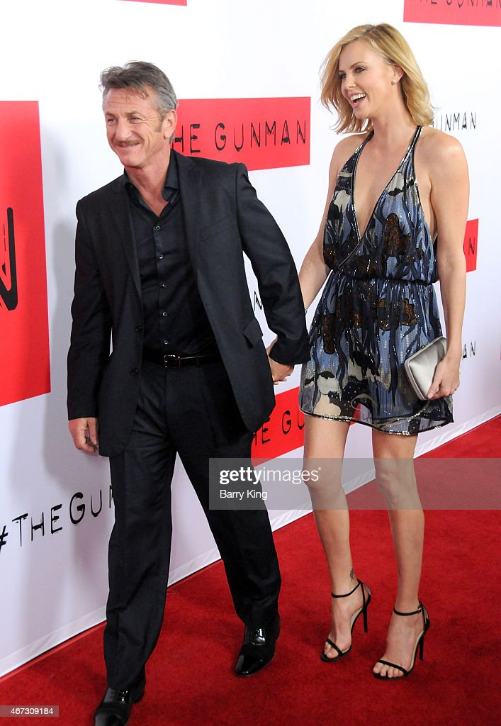 Actor Sean Penn and actress Charlize Theron attend the premiere of 'The Gunman' at Regal Cinemas L.A. Live on March 12, 2015 in Los Angeles, California.