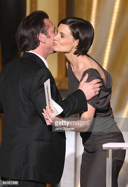 Actor Sean Penn and actress Katie Holmes on stage at the TNT/TBS broadcast of the 15th Annual Screen Actors Guild Awards at the Shrine Auditorium on...