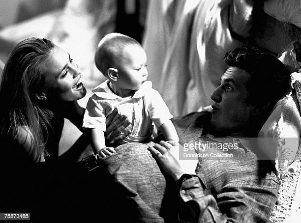 Actor Sean Penn and his girlfriend Robin Wright with their baby daughter Dylan at their residence in Malibu California