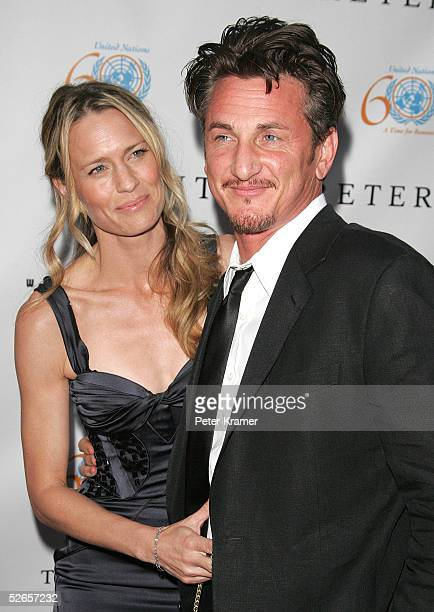 Actor Sean Penn and his wife Robin Wright Penn attend The Interpreter premiere at the Ziegfeld Theatre April 19 2005 in New York City